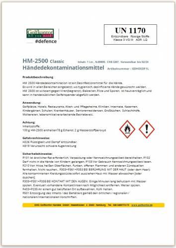 GOLFKONTOR #defence - Flüssige, alkoholische Händedesinfektionsmittel - 1 Liter - 1