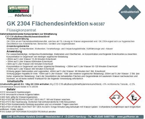 GK 2304 Flächendesinfektion, Konzentrat flüssig - 10 Liter (ergibt bis zu 100L) ..Mengenrabatt ab 12 Einheiten - 1