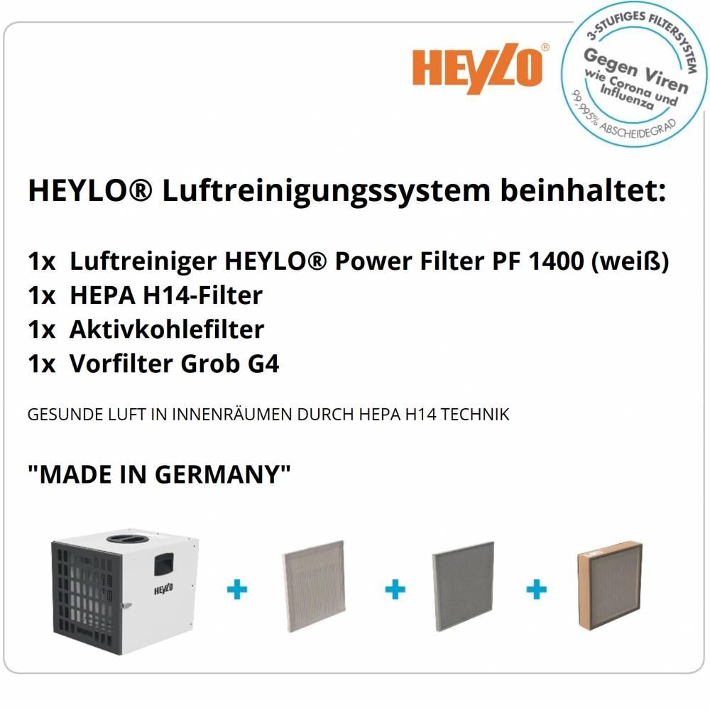 HEYLO® Luftreiniger PowerFilter 1400 (weiß) inkl. 3 Filtersystem Virenschutz HEPA HP14 - 5