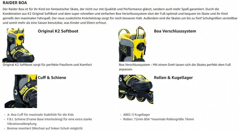 K2 RAIDER BOA® JR JUNGEN+MÄDCHEN INLINER GRÖßENVERSTELLBAR Gr.S (29-34) - 5