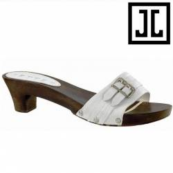 JETTE JOOP Twin Buckle Wood Sandal white - EU 41