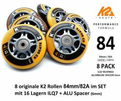 K2 PERFORMANCE FORMULA SKATE ROLLEN 8 STÜCK 84mm/82A + ILQ7 + ALU SPACER (3053011.1.1)
